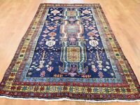 """4'7""""x9'4"""" Blue Pure Wool HandKnotted Ardabil Wide Runner Tribal Rug G45361"""