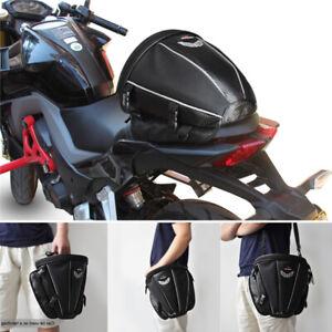 Black Motorcycle Tail Bag Rear Seat Storage Case Shoulder Backpack Waterproof 1x