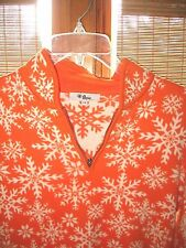 NEVE SZ L Orange & White Nordic Snowflake Cotton 1/2 Zip Sweater EUC