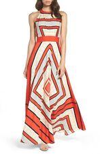 ELIZA J Red Navy Polka Dot Scarf Print Crepe de Chine Fit Flare Maxi Dress 12 L