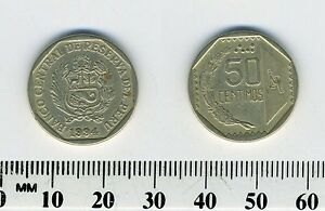 Peru 1994 - 50 Centimos Copper-Nickel-Zinc Coin - National arms within octagon