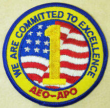 AEO-APO Committed To Excellence American Flag Patch Emblem Travel Souvenir Badge