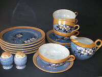 Set of 5 Luncheon Plates, Cups, Saucers, Creamer, Salt/Pepper Made Japan MS-76
