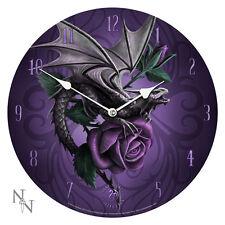 Anne Stokes Dragon Beauty Purple Rose Wall Clock Reloj Rosa Morada Tribal