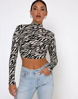 MOTEL ROCKS  Quelia Crop Top in 90's Zebra  Small S    (MR7)