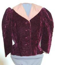 Vintage 1930's Art Deco Burgundy Velvet Quilted Jacket w Mauve Faille Trim SM