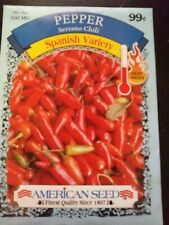 Serrano Chili Pepper Seeds, 7 packages at 200 mg each.