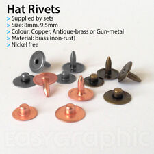Hat Rivets Studs Buttons Leather craft Jeans Bag Nickel Free 8, 9mm Brass Copper