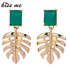 925 Silver Post Green Resin Geometric Hollow Gold Leaf Drop Earrings ed00277c