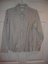 Charter Club blouse size 12P 12 Petite LS EUC button blue black white stripe