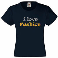 i love Fashion-T Shirt written in silver & gold Great Birthday Gift  for Girls