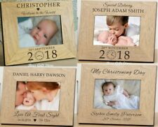 PERSONALISED Wooden NEW BABY Picture PHOTO Frame For BIRTH of Christening Gifts