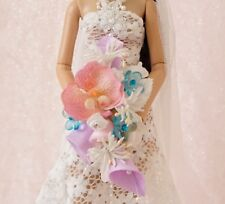 "Orchid,Pink, Blue & White Bridal Bouquet for 16"" Fashion Dolls Tonner JAIMEshow"
