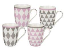 Tassen Rauten 5er Set 300 ml B- Ware Karo-Muster Kaffeetasse Porzellan