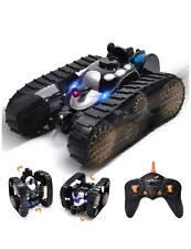 Rechargeable RC Tank Car Gifts Toy with Music LED Light, 360-degree Rotating (a)