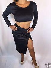 Connie's Faux Suede Black 2 piece Crop Top & Skirt w/ thigh high split  S/M
