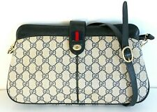 VTG Gucci SIGNATURE BLUE LEATHER TWO COMPARTMENTS X-BODY SHOULDER BAG MESSENGER