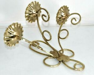 """Vintage Gold Tone Metal Candle Holder Wall Sconce Triple 14""""x10"""""""