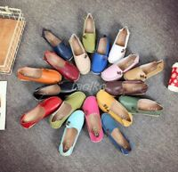 Fashion Womens Leather Shoes Casual Ballet Slip On Flats Loafers Single Shoes sz