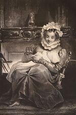 """Lithographie originale 1829 Achille Devéria """"Le coin du feu"""" Romantisme"""