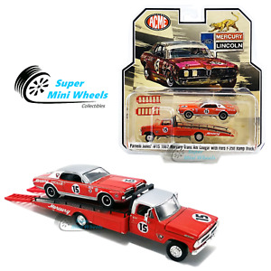 ACME 1/64 - 1967 Mercury Trans Am Cougar #15 (Red) with Ford F-350 Ramp Truck