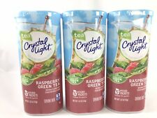 CRYSTAL LIGHT Powdered DRINK MIX 3 Cans, 15 Pitcher Packs Raspberry Green Tea