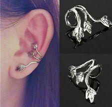 Silver Triple Leaf 3 Leaves Ear Cuff Wrap Upper Helix Cartilage Clip-On Earring