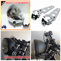 "Chrome billet motorcycle 6 3/4"" headlight Harley chopper cafe bobber + bracket"
