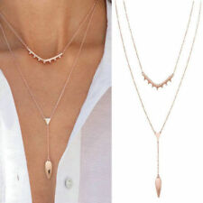 Rose Gold Plated Stella Style Versatile 3 in l Tiered Lariat Pendant Dot Necklac