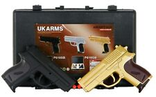 UKARMS Cyma Spring Powered Airsoft Dual Gold Pistol Set Hand Gun Case 6mm BB