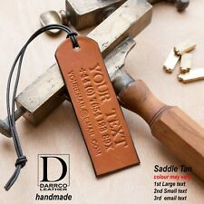 SADDLE TAN Personalised Tags Real Leather Luggage Travel Suitcase Tag