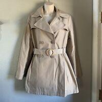 Women's Via Spiga Short Trench Coat, Khaki, Size Large