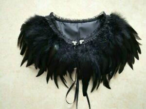 Feather Cape Jacket Cloaks Collar Wrap Poncho Tassel Costume Fancy Dress SHP
