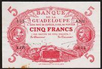 5 FRANCS 1945 GUADELOUPE - P5d - Cabasson Rouge 1928-1945
