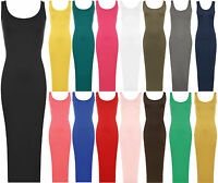 Ladies Full Length Stretch Bodycon Plain Sleeveless Womens Long  Maxi Dress 8-14