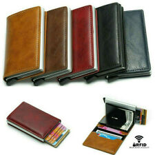 Men's RFID Anti-theft Credit Card PU Aluminum Alloy Leather Wallets Card Holder