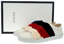 35198002b34 NEW GUCCI CURRENT ACE LEATHER   VELVET BOW SLIP-ON SNEAKERS SHOES 38