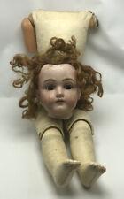 Antique Girl Doll Head Damage Eyes Work Fair Condition