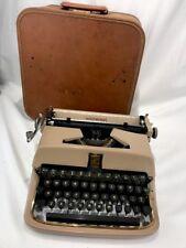 Vtg Art Deco Tan Underwood Universal Quiet Tab Typewriter with Case Golden Touch