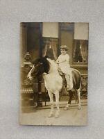 Vintage photo Little Girl Cowgirl On Shetland Pony