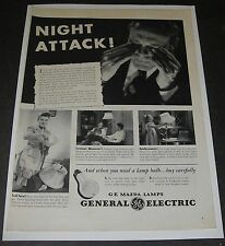 Print Ad 1942 GENERAL ELECTRIC G-E Mazda Lamps Bulbs Night Attack WWll Homefront