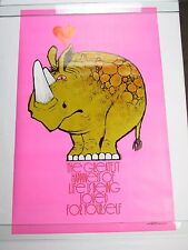 Vintage 1970 Pink RHINO Poster Happiness of Life Being Loved for Yourself NOS