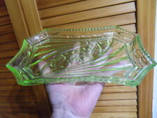 plat coupe antique glass uranium dish verre vert ouraline design french art deco