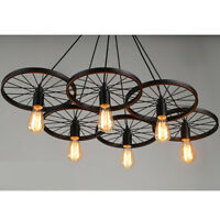 Industrial DIY Bar Vintage Wheel Chandelier Pendant Ceiling Light Lampshade