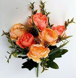 "Silk Orange Tea Rose Flower 12"" Bush Home Tabletop Corsage General Décor Craft"