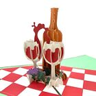 3d Pop Up Greeting Card Wine Glass&bottle Winery Anniversary Valentines Birthday