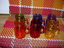 """SET OF 6 COLORFUL MASOR JAR """"SHOOTER"""" GLASSES--5 OZS.---#Y32"""