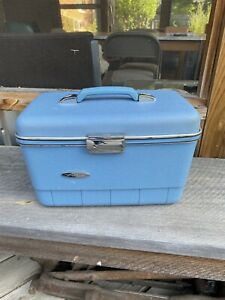 Vintage Sears Forecast Train Case Hard Sides w/Mirror Makeup Tray Two Pouches
