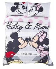 Girls Disney DOUBLE Duvet Cover Set Mickey & Minnie Mouse Bedding Pink Red Grey