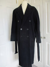 Dark navy gents belted wool & cashmere fully lined overcoat size S- new